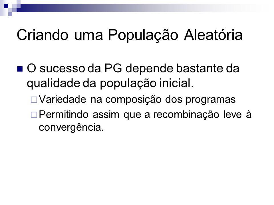 Criando uma População Aleatória O sucesso da PG depende bastante da qualidade da população inicial. Variedade na composição dos programas Permitindo a
