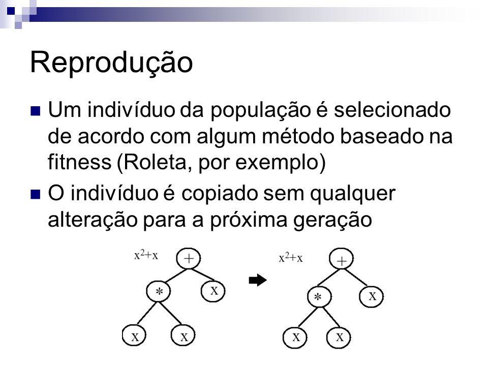 Reprodução Um indivíduo da população é selecionado de acordo com algum método baseado na fitness (Roleta, por exemplo) O indivíduo é copiado sem qualq