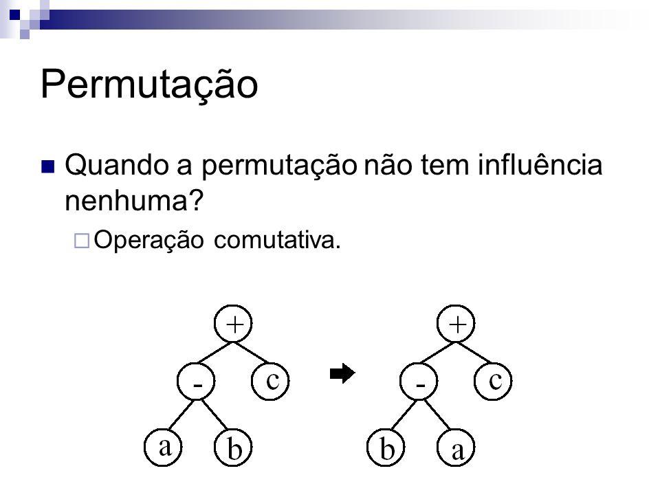 Permutação Quando a permutação não tem influência nenhuma? Operação comutativa.