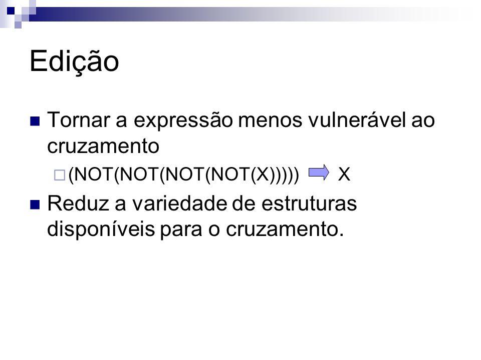 Edição Tornar a expressão menos vulnerável ao cruzamento (NOT(NOT(NOT(NOT(X))))) X Reduz a variedade de estruturas disponíveis para o cruzamento.