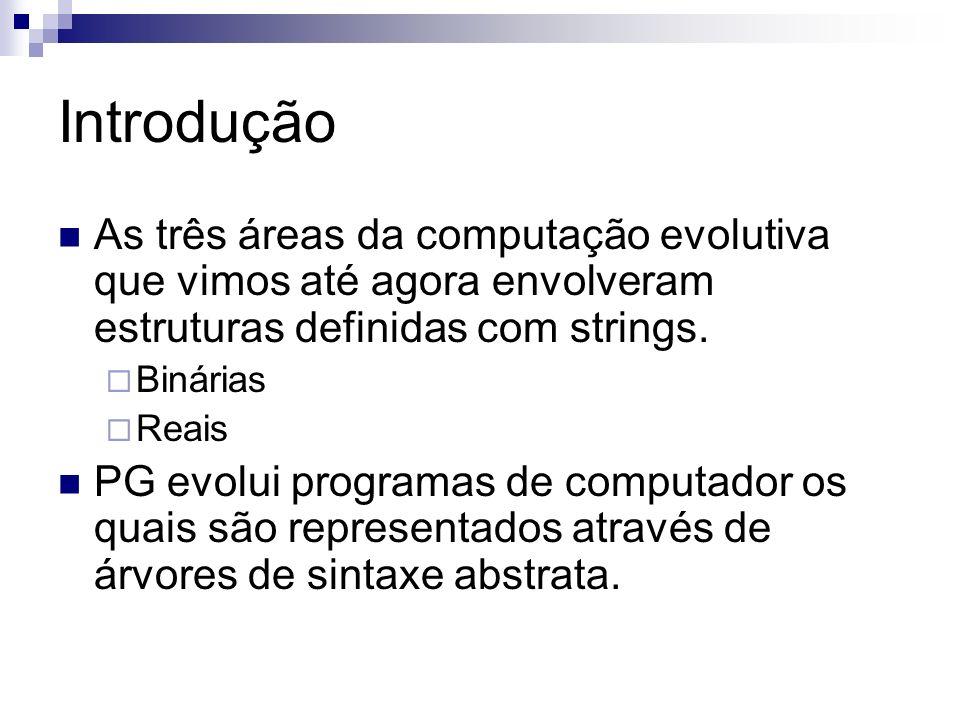 Introdução As três áreas da computação evolutiva que vimos até agora envolveram estruturas definidas com strings. Binárias Reais PG evolui programas d
