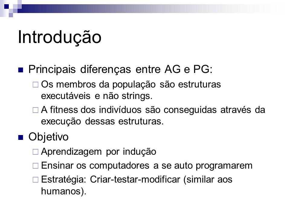 Introdução Principais diferenças entre AG e PG: Os membros da população são estruturas executáveis e não strings. A fitness dos indivíduos são consegu
