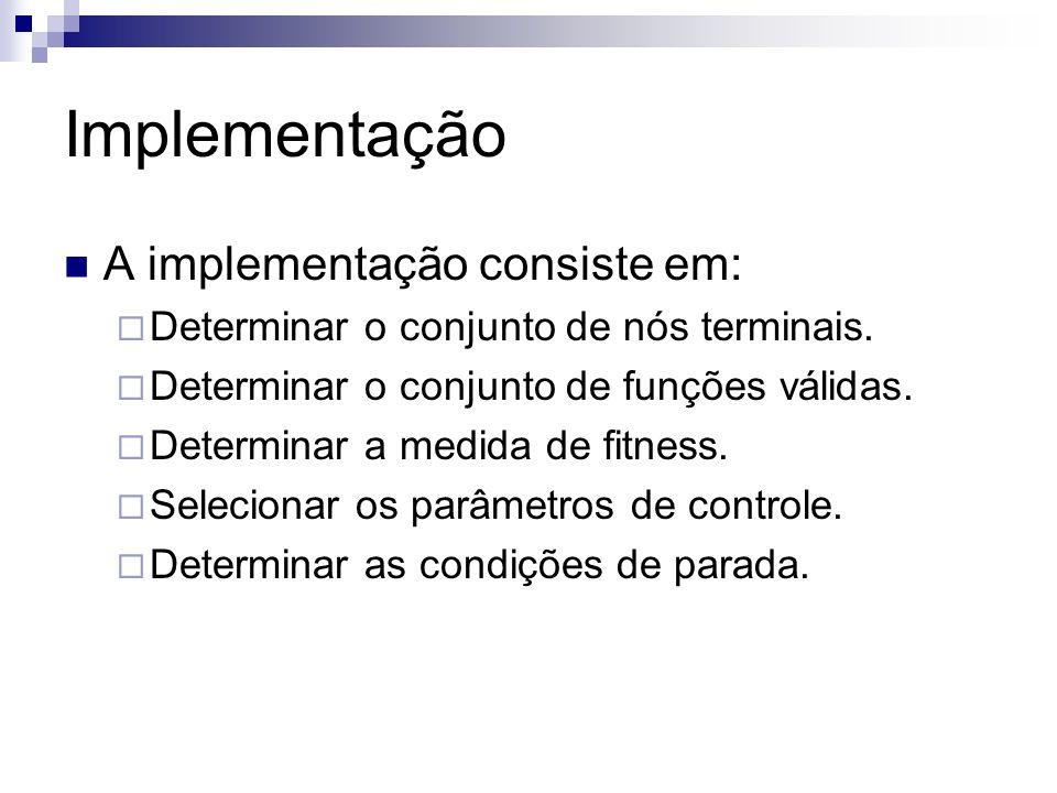Implementação A implementação consiste em: Determinar o conjunto de nós terminais. Determinar o conjunto de funções válidas. Determinar a medida de fi