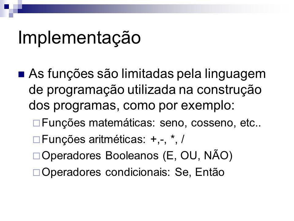 Implementação As funções são limitadas pela linguagem de programação utilizada na construção dos programas, como por exemplo: Funções matemáticas: sen