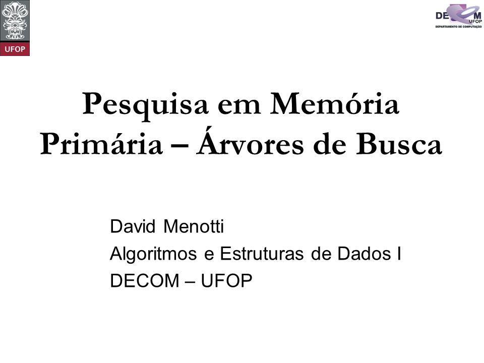 Pesquisa em Memória Primária – Árvores de Busca David Menotti Algoritmos e Estruturas de Dados I DECOM – UFOP