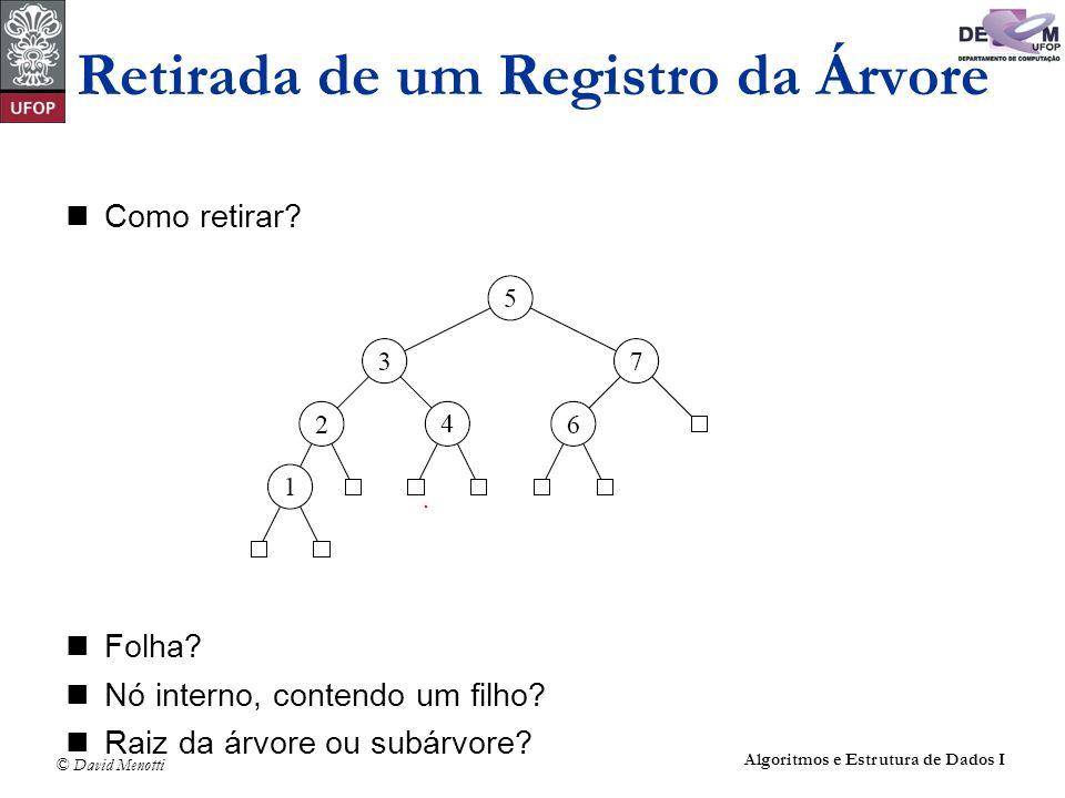 © David Menotti Algoritmos e Estrutura de Dados I Como retirar? Folha? Nó interno, contendo um filho? Raiz da árvore ou subárvore? Retirada de um Regi