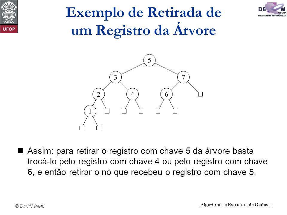 © David Menotti Algoritmos e Estrutura de Dados I Assim: para retirar o registro com chave 5 da árvore basta trocá-lo pelo registro com chave 4 ou pel
