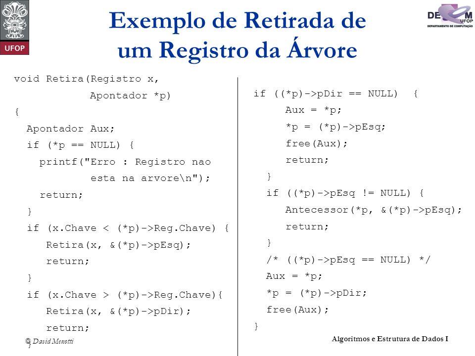 © David Menotti Algoritmos e Estrutura de Dados I void Retira(Registro x, Apontador *p) { Apontador Aux; if (*p == NULL) { printf(