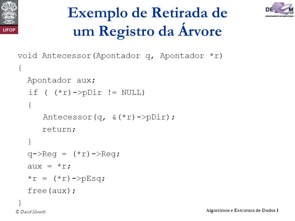 © David Menotti Algoritmos e Estrutura de Dados I void Antecessor(Apontador q, Apontador *r) { Apontador aux; if ( (*r)->pDir != NULL) { Antecessor(q,