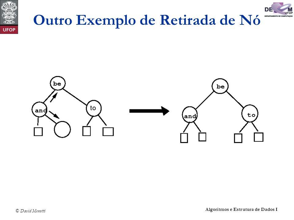 © David Menotti Algoritmos e Estrutura de Dados I Outro Exemplo de Retirada de Nó