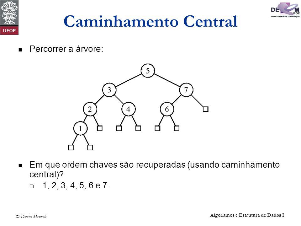 © David Menotti Algoritmos e Estrutura de Dados I Caminhamento Central Percorrer a árvore: Em que ordem chaves são recuperadas (usando caminhamento ce