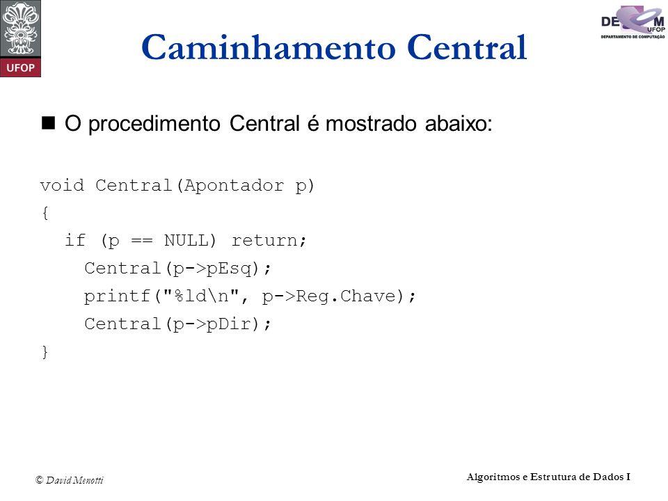 © David Menotti Algoritmos e Estrutura de Dados I O procedimento Central é mostrado abaixo: void Central(Apontador p) { if (p == NULL) return; Central