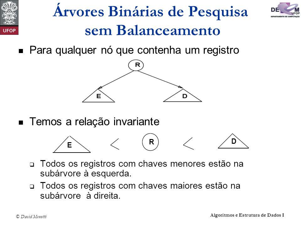 © David Menotti Algoritmos e Estrutura de Dados I void Retira(Registro x, Apontador *p) { Apontador Aux; if (*p == NULL) { printf( Erro : Registro nao esta na arvore\n ); return; } if (x.Chave Reg.Chave) { Retira(x, &(*p)->pEsq); return; } if (x.Chave > (*p)->Reg.Chave){ Retira(x, &(*p)->pDir); return; } if ((*p)->pDir == NULL) { Aux = *p; *p = (*p)->pEsq; free(Aux); return; } if ((*p)->pEsq != NULL) { Antecessor(*p, &(*p)->pEsq); return; } /* ((*p)->pEsq == NULL) */ Aux = *p; *p = (*p)->pDir; free(Aux); } Exemplo de Retirada de um Registro da Árvore