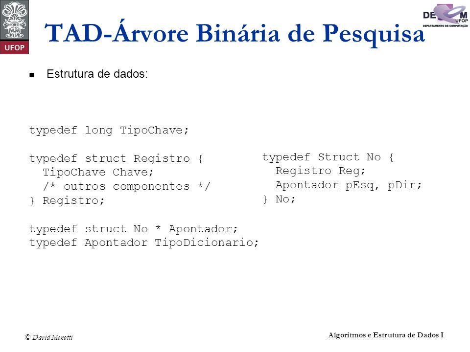 © David Menotti Algoritmos e Estrutura de Dados I TAD-Árvore Binária de Pesquisa Estrutura de dados: typedef long TipoChave; typedef struct Registro {