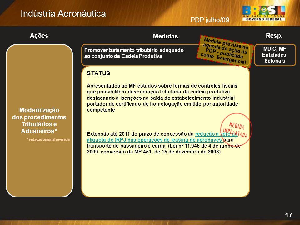 PDP julho/09 Resp.Ações Medidas Indústria Aeronáutica 17 MDIC, MF Entidades Setoriais STATUS Apresentados ao MF estudos sobre formas de controles fisc