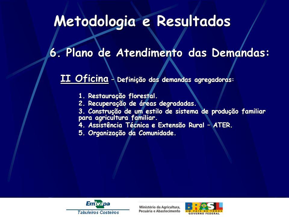 Metodologia e Resultados 6. Plano de Atendimento das Demandas: II Oficina – Definição das demandas agregadoras: 1. Restauração florestal. 2. Recuperaç