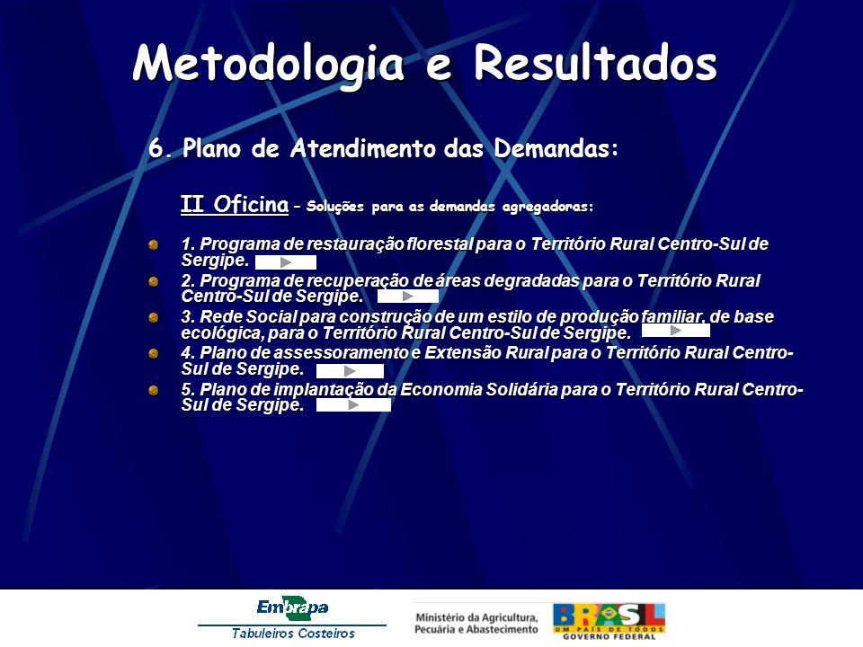 Metodologia e Resultados 6. Plano de Atendimento das Demandas: II Oficina – Soluções para as demandas agregadoras: 1. Programa de restauração floresta