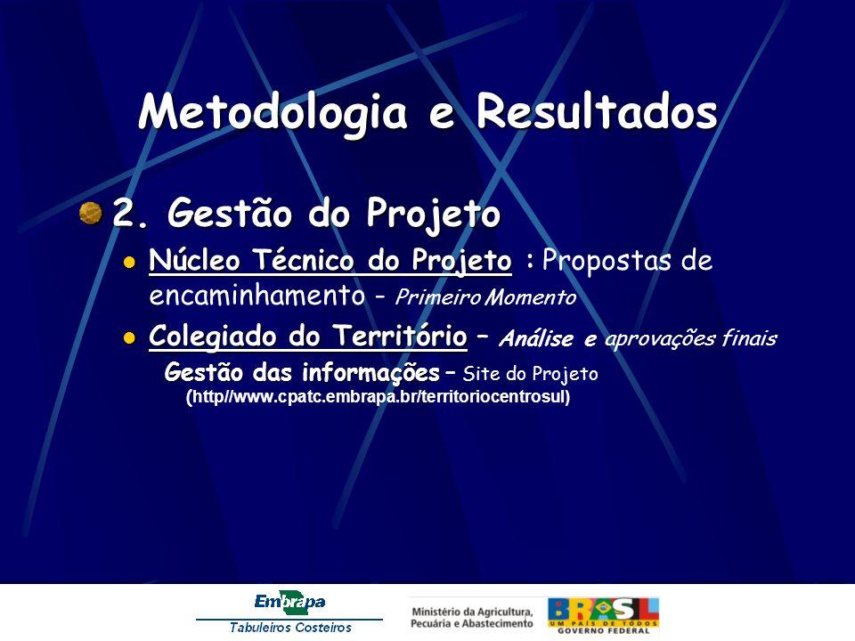 Metodologia e Resultados 2. Gestão do Projeto Núcleo Técnico do Projeto : Núcleo Técnico do Projeto : Propostas de encaminhamento - Primeiro Momento C