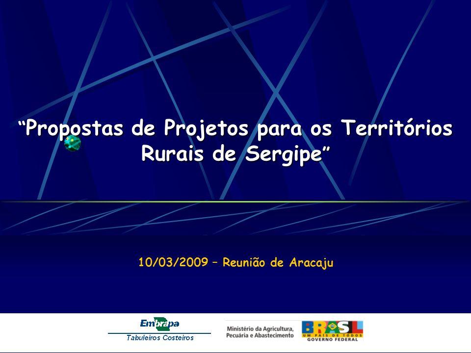 Propostas de Projetos para os Territórios Rurais de Sergipe Propostas de Projetos para os Territórios Rurais de Sergipe 10/03/2009 – Reunião de Aracaju