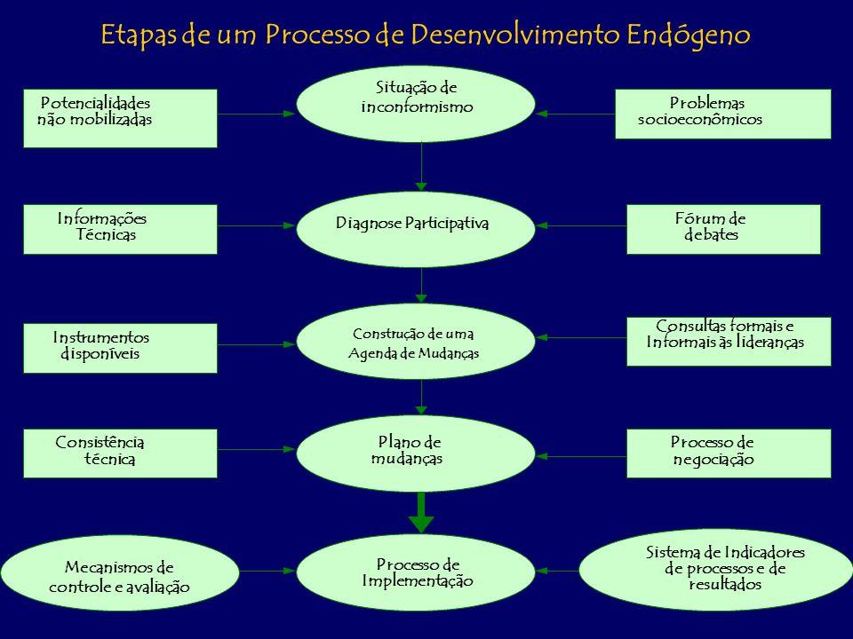 Etapas de um Processo de Desenvolvimento Endógeno Potencialidades não mobilizadas Problemas socioeconômicos Situação de inconformismo Diagnose Participativa Construção de uma Agenda de Mudanças Processo de Implementação Plano de mudanças Informações Técnicas Instrumentos disponíveis Consistência técnica Fórum de debates Consultas formais e Informais às lideranças Processo de negociação Mecanismos de controle e avaliação Sistema de Indicadores de processos e de resultados