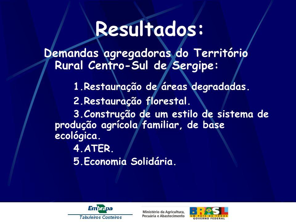 Resultados: Demandas agregadoras do Território Rural Centro-Sul de Sergipe: 1.Restauração de áreas degradadas. 2.Restauração florestal. 3.Construção d