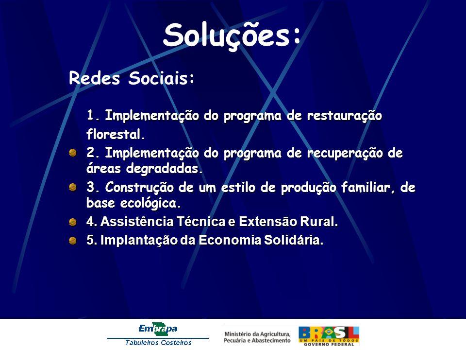 Soluções: Redes Sociais: 1. Implementação do programa de restauração florestal. 2. Implementação do programa de recuperação de áreas degradadas. 3. Co