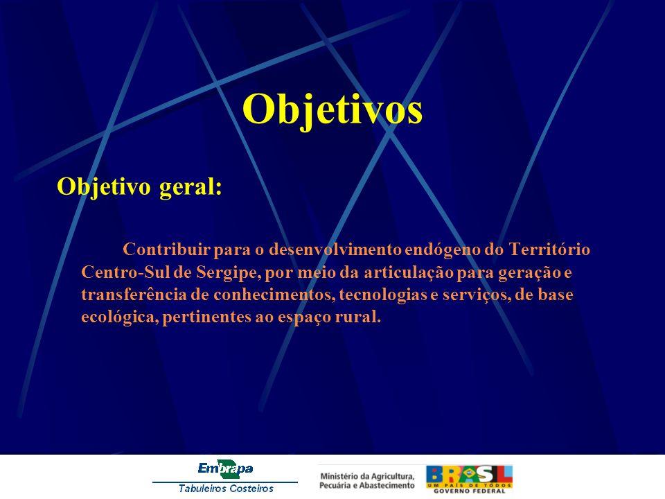 Objetivos Objetivo geral: Contribuir para o desenvolvimento endógeno do Território Centro-Sul de Sergipe, por meio da articulação para geração e trans