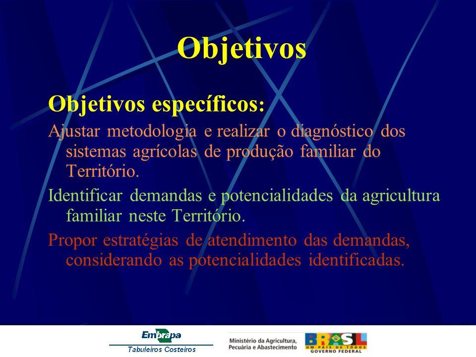 Objetivos Objetivos específicos : Ajustar metodologia e realizar o diagnóstico dos sistemas agrícolas de produção familiar do Território. Identificar