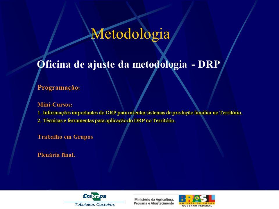 Metodologia Oficina de ajuste da metodologia - DRP Programação : Mini-Cursos : 1. Informações importantes do DRP para orientar sistemas de produção fa