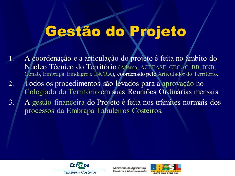 Gestão do Projeto 1. A coordenação e a articulação do projeto é feita no âmbito do Núcleo Técnico do Território (Adema, ACEFASE, CECAC, BB, BNB, Conab