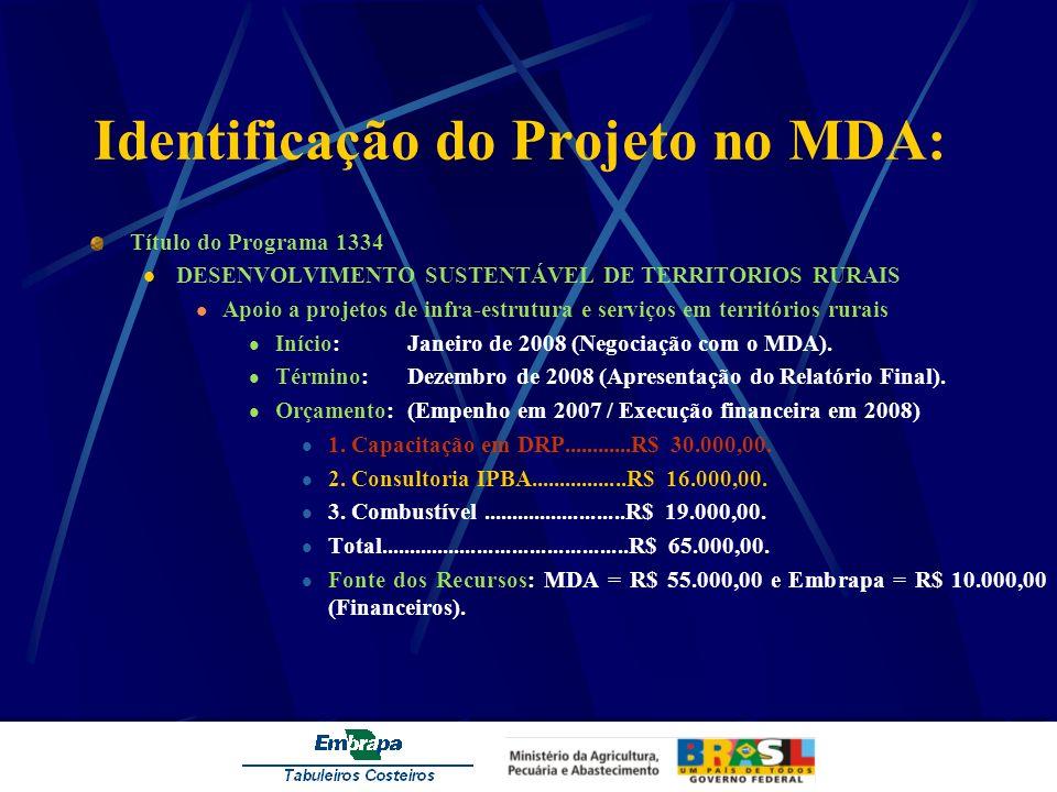 Identificação do Projeto no MDA: Título do Programa 1334 DESENVOLVIMENTO SUSTENTÁVEL DE TERRITORIOS RURAIS Apoio a projetos de infra-estrutura e servi
