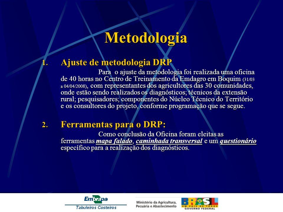 Metodologia 1. Ajuste de metodologia DRP ara o ajuste da metodologia foi realizada uma oficina de 40 horas no Centro de Treinamento da Emdagro em Boqu