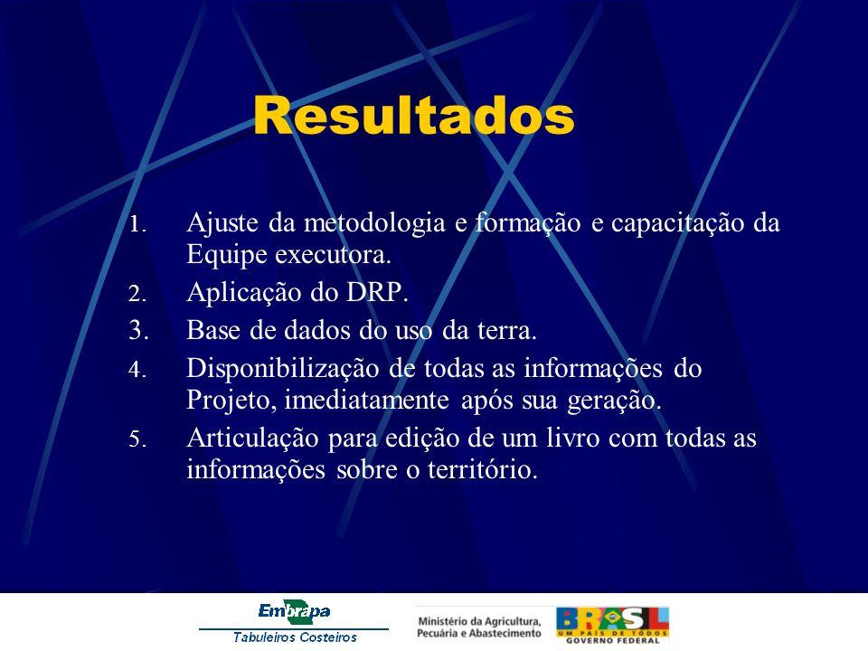 Resultados 1. Ajuste da metodologia e formação e capacitação da Equipe executora. 2. Aplicação do DRP. 3.Base de dados do uso da terra. 4. Disponibili