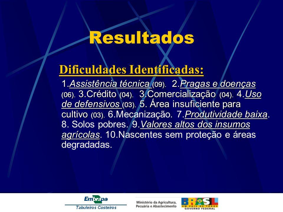 Resultados Dificuldades Identificadas: 1.Assistência técnica (09) 2.Pragas e doenças (06) 3.Crédito (04) 3.Comercialização (04) 4.Uso de defensivos (0