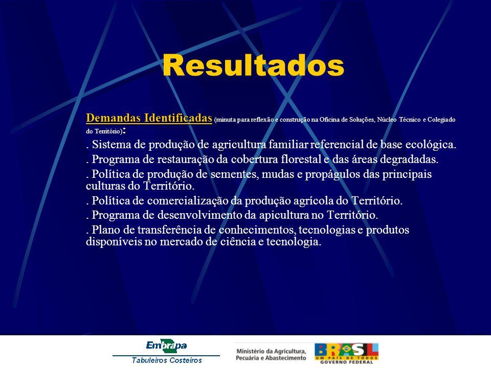 Resultados Demandas Identificadas : Demandas Identificadas (minuta para reflexão e construção na Oficina de Soluções, Núcleo Técnico e Colegiado do Te