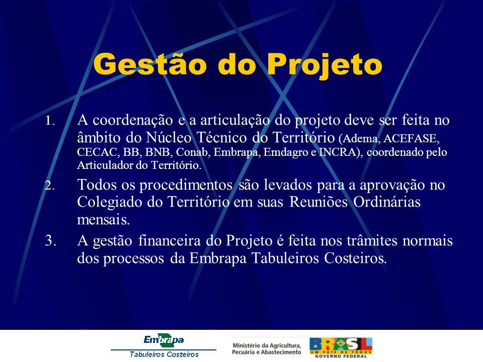 Gestão do Projeto 1. A coordenação e a articulação do projeto deve ser feita no âmbito do Núcleo Técnico do Território (Adema, ACEFASE, CECAC, BB, BNB