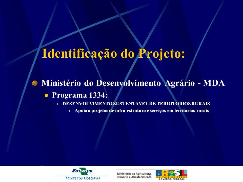 Identificação do Projeto: Ministério do Desenvolvimento Agrário - MDA Programa 1334: DESENVOLVIMENTO SUSTENTÁVEL DE TERRITORIOS RURAIS Apoio a projeto