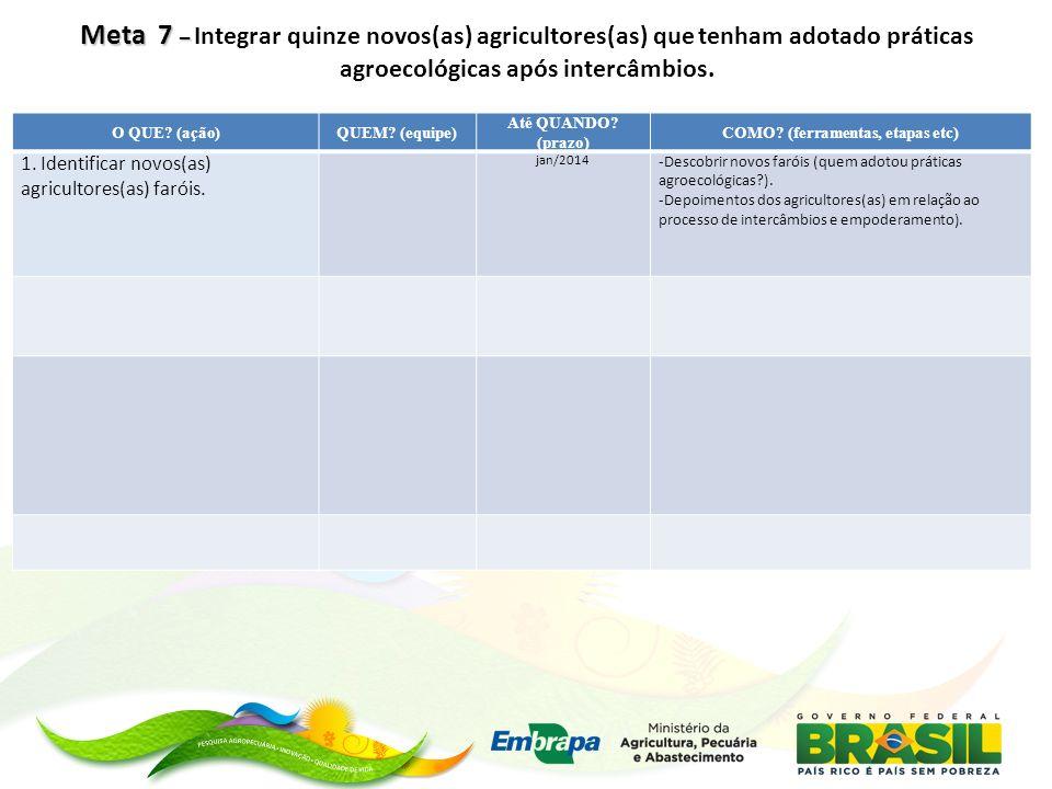 Meta 8 – Meta 8 – Realizar o segundo ciclo de intercâmbios entre os(as) agricultores(as) da rede.