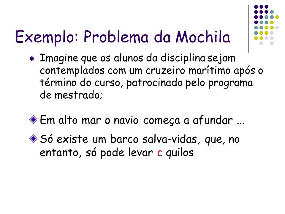 Exemplo: Problema da Mochila Imagine que os alunos da disciplina sejam contemplados com um cruzeiro marítimo após o término do curso, patrocinado pelo