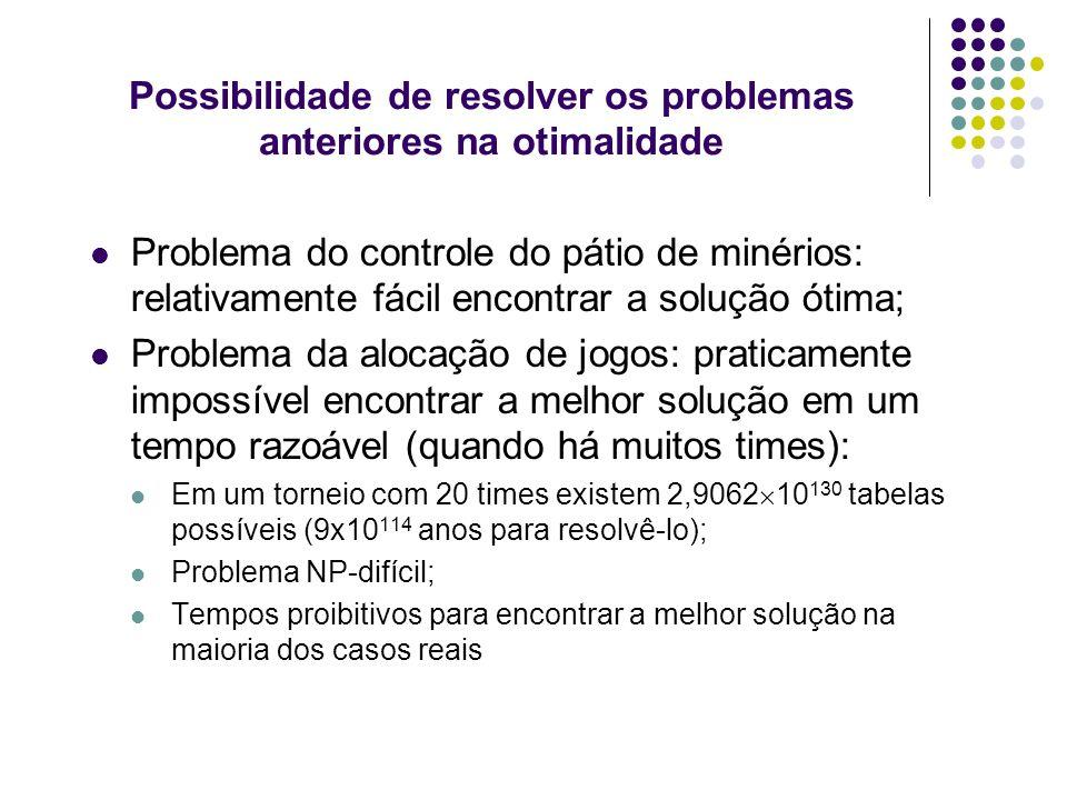 Possibilidade de resolver os problemas anteriores na otimalidade Problema do controle do pátio de minérios: relativamente fácil encontrar a solução ót