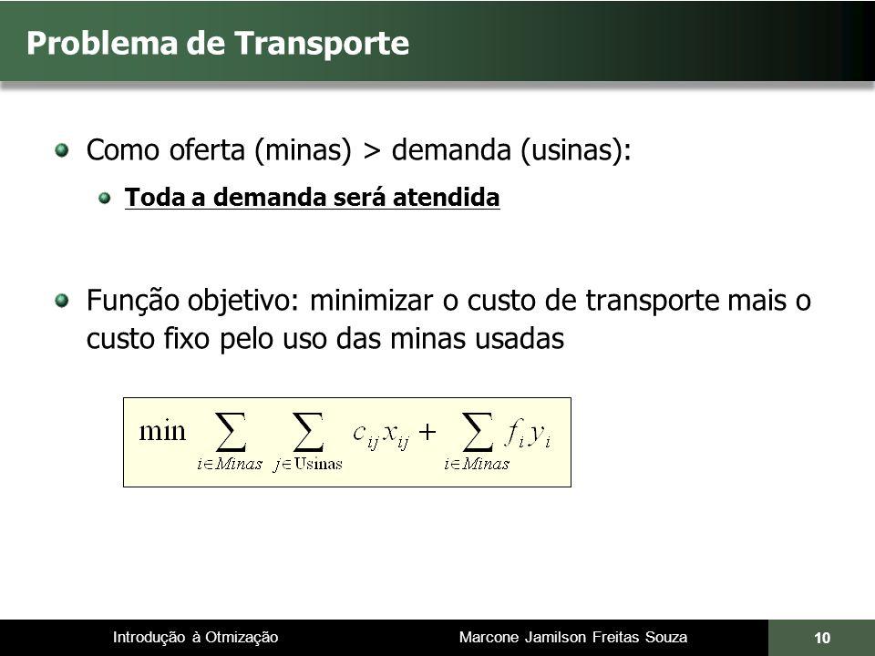 Introdução à Otmização Marcone Jamilson Freitas Souza Problema de Transporte Como oferta (minas) > demanda (usinas): Toda a demanda será atendida Funç
