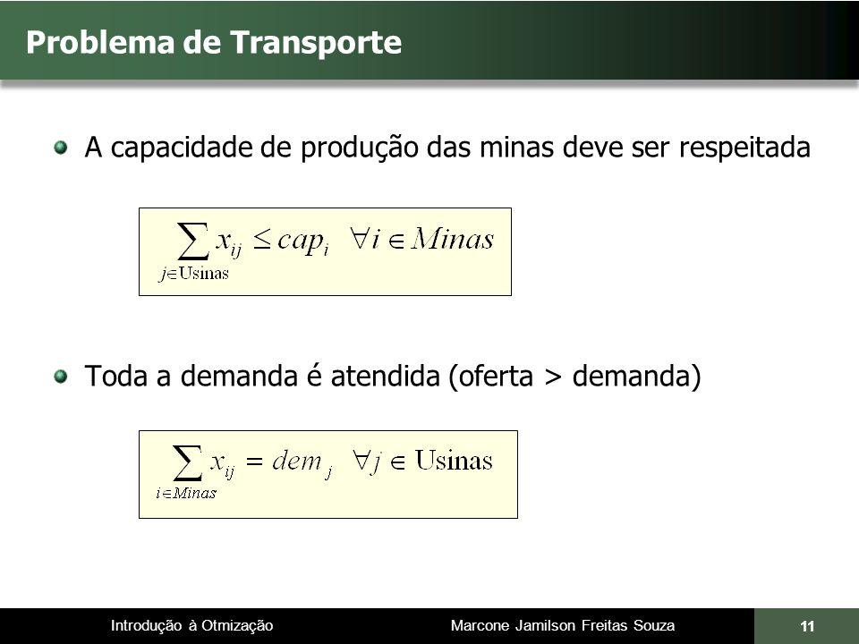 Introdução à Otmização Marcone Jamilson Freitas Souza Problema de Transporte A capacidade de produção das minas deve ser respeitada Toda a demanda é atendida (oferta > demanda) 11