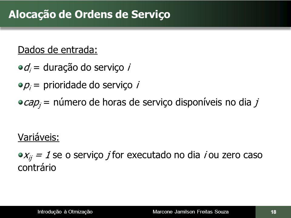 Introdução à Otmização Marcone Jamilson Freitas Souza Alocação de Ordens de Serviço Dados de entrada: d i = duração do serviço i p i = prioridade do s
