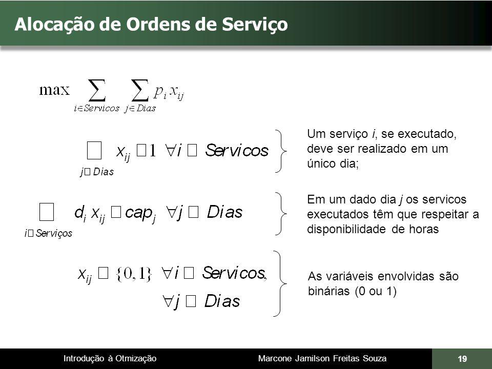 Introdução à Otmização Marcone Jamilson Freitas Souza 19 Alocação de Ordens de Serviço Um serviço i, se executado, deve ser realizado em um único dia;