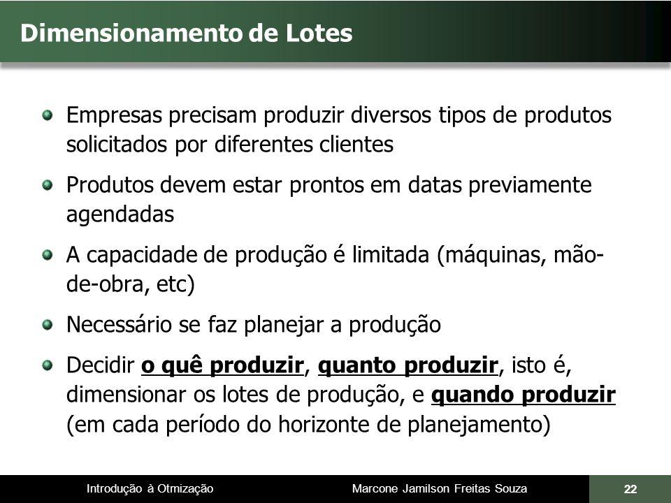 Introdução à Otmização Marcone Jamilson Freitas Souza Dimensionamento de Lotes Empresas precisam produzir diversos tipos de produtos solicitados por d