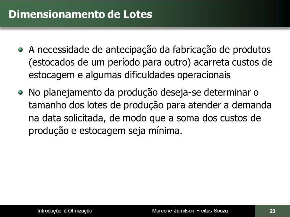 Introdução à Otmização Marcone Jamilson Freitas Souza Dimensionamento de Lotes A necessidade de antecipação da fabricação de produtos (estocados de um
