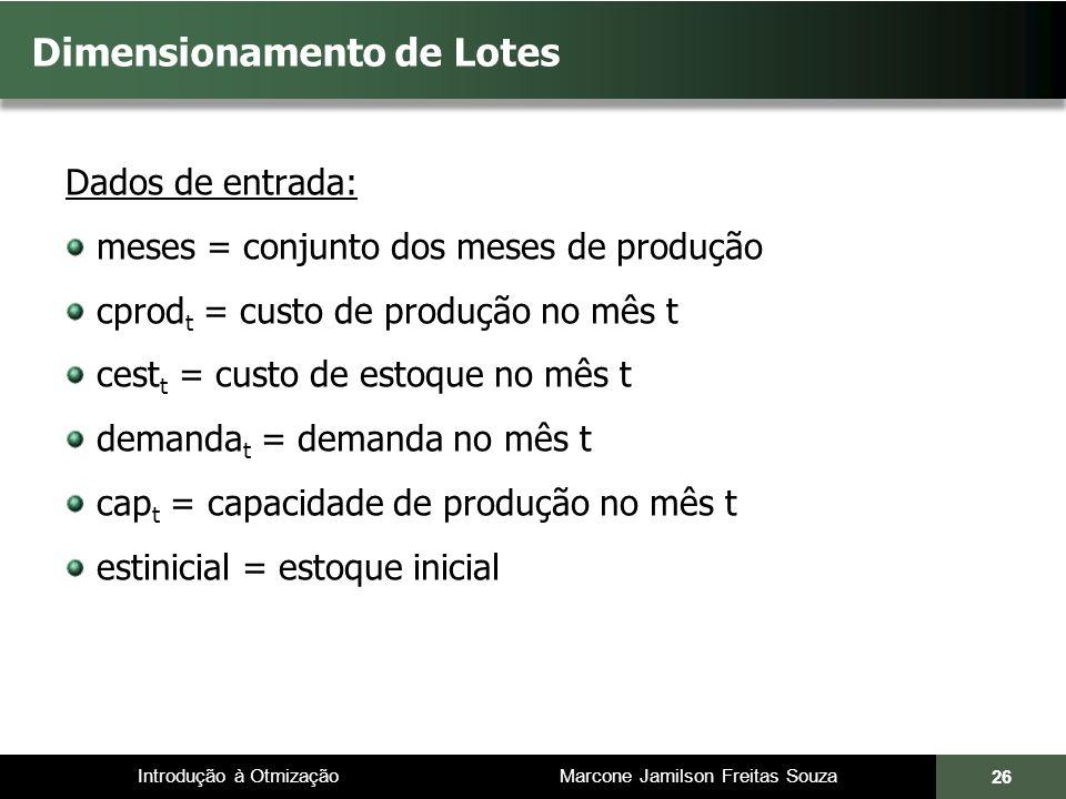 Introdução à Otmização Marcone Jamilson Freitas Souza Dimensionamento de Lotes Dados de entrada: meses = conjunto dos meses de produção cprod t = cust