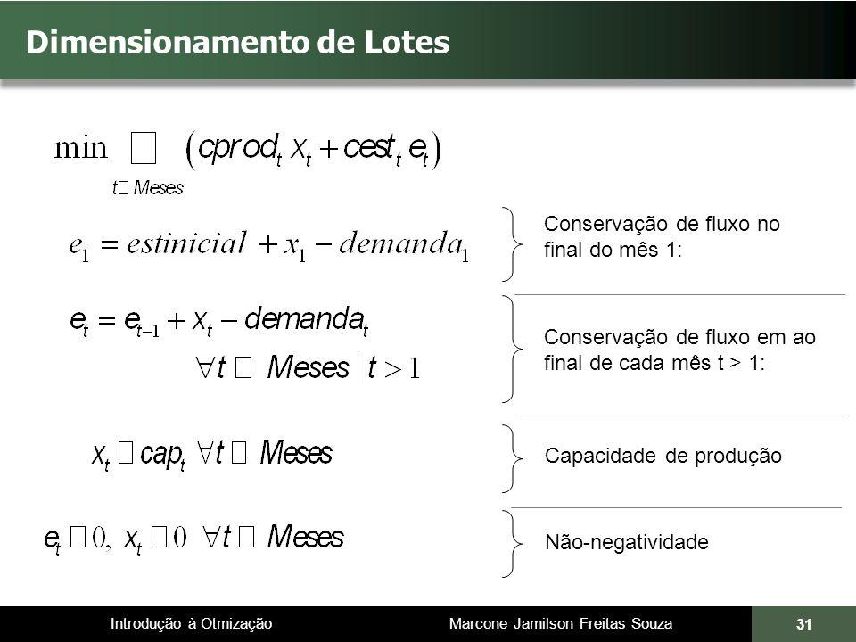 Introdução à Otmização Marcone Jamilson Freitas Souza 31 Dimensionamento de Lotes Conservação de fluxo no final do mês 1: Conservação de fluxo em ao final de cada mês t > 1: Capacidade de produção Não-negatividade