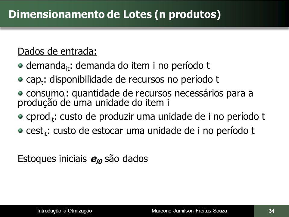 Introdução à Otmização Marcone Jamilson Freitas Souza Dimensionamento de Lotes (n produtos) Dados de entrada: demanda it : demanda do item i no períod