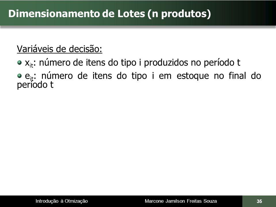 Introdução à Otmização Marcone Jamilson Freitas Souza Dimensionamento de Lotes (n produtos) Variáveis de decisão: x it : número de itens do tipo i pro